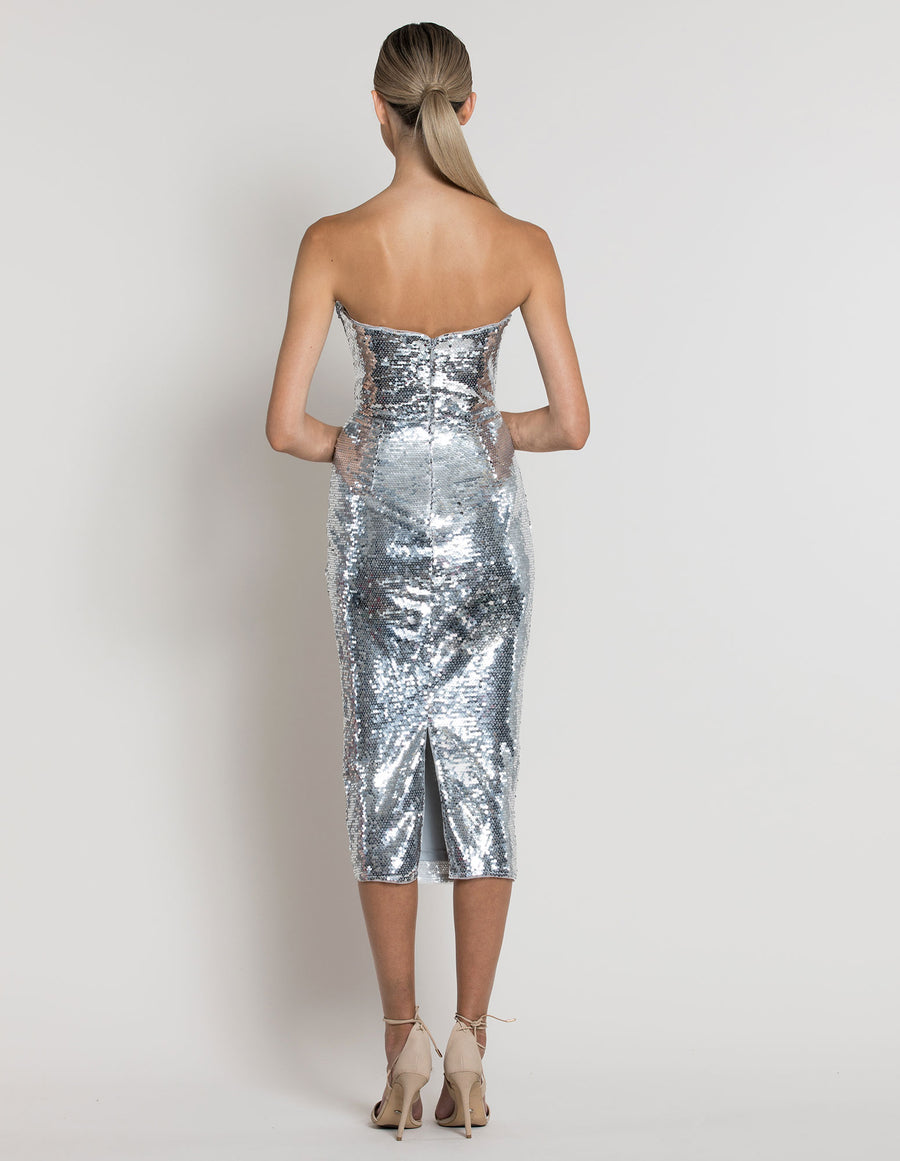 LEVANA V-NECK SEQUIN GOWN B39D35-L