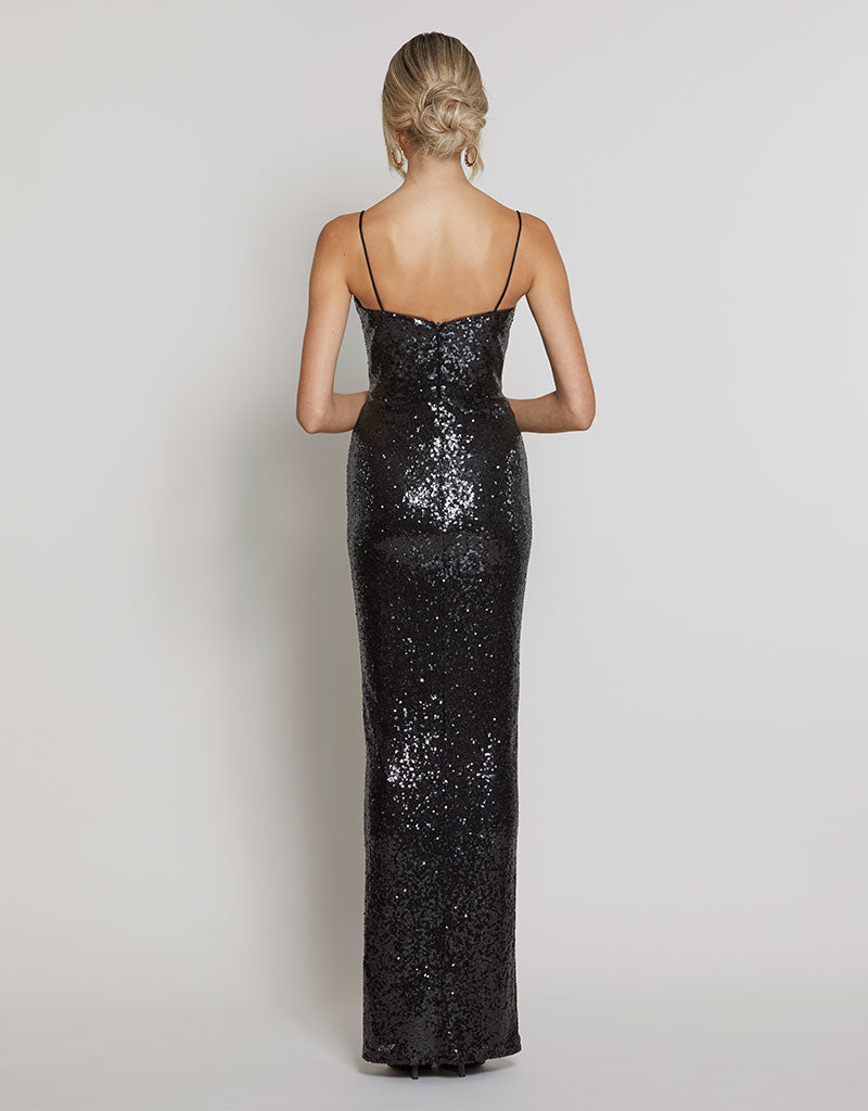 AMBER DRAPED SEQUIN GOWN
