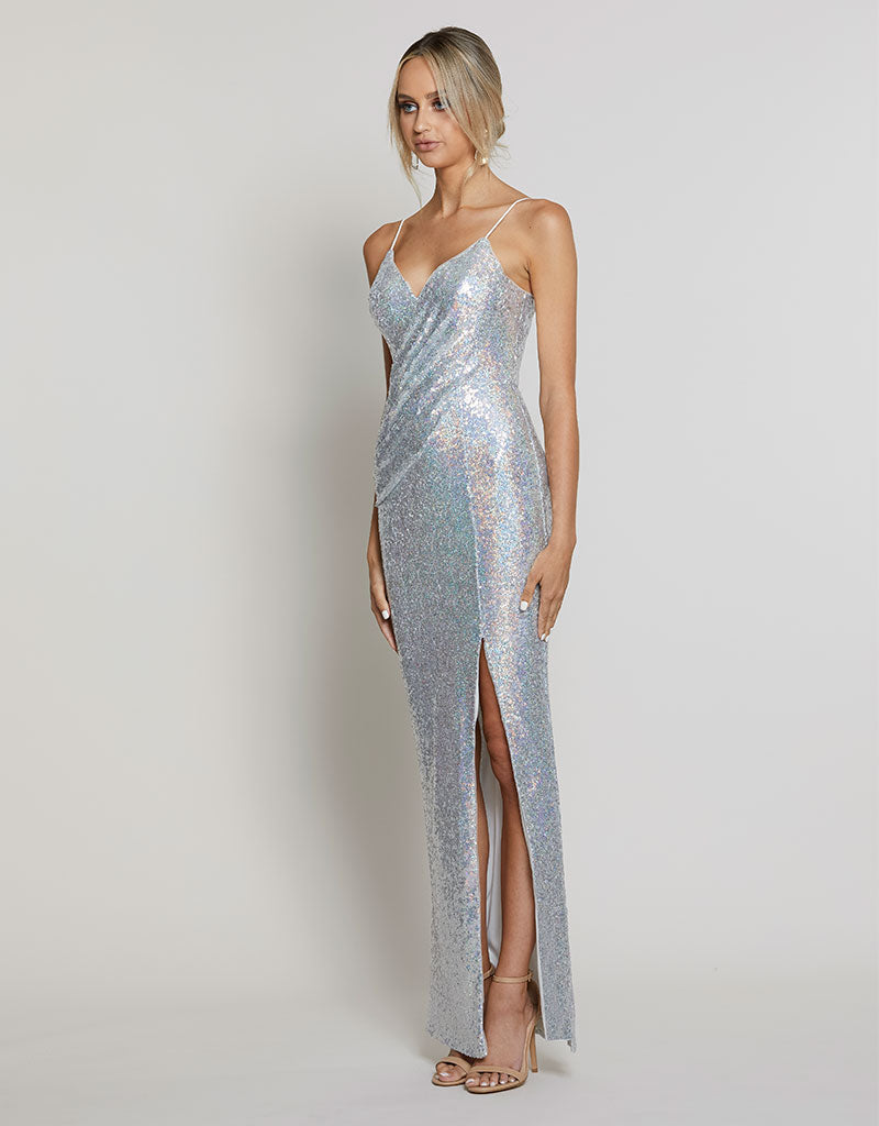 AMBER DRAPED SEQUIN GOWN B40D09L