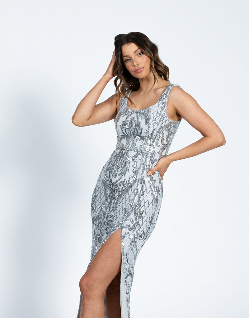 DIANNE SCOOP PATTERN SEQUIN GOWN B42D32L