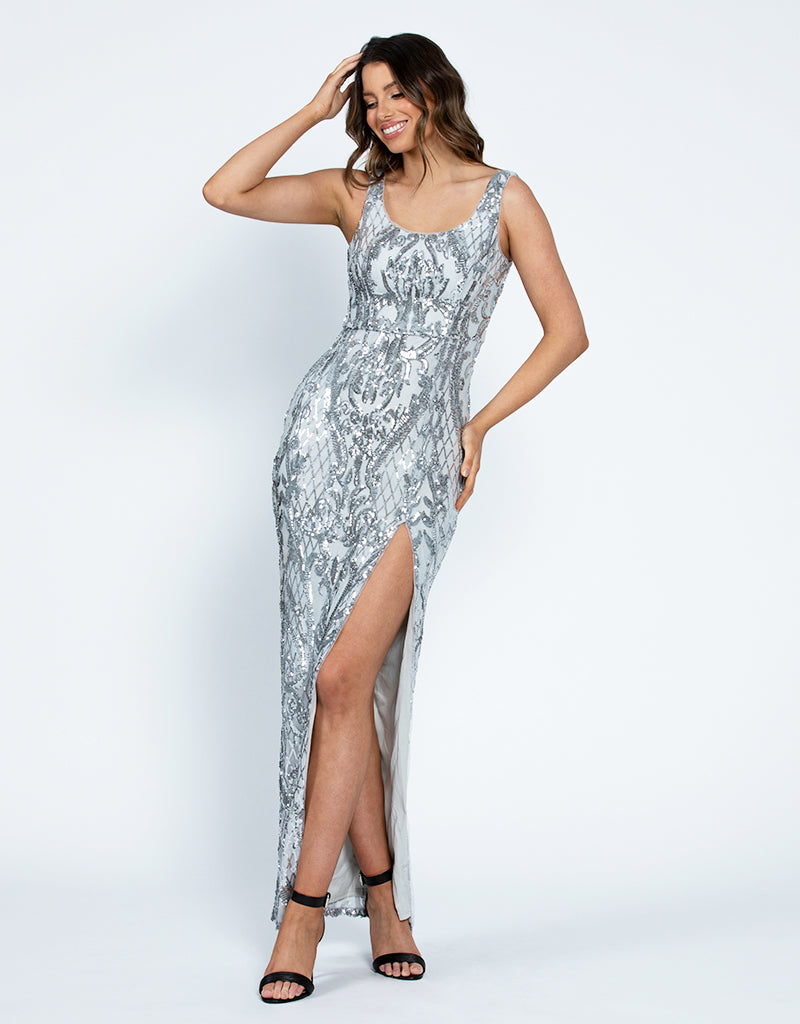 DIANNE SCOOP PATTERN SEQUIN GOWN WITH SKIRT B42D32LDS