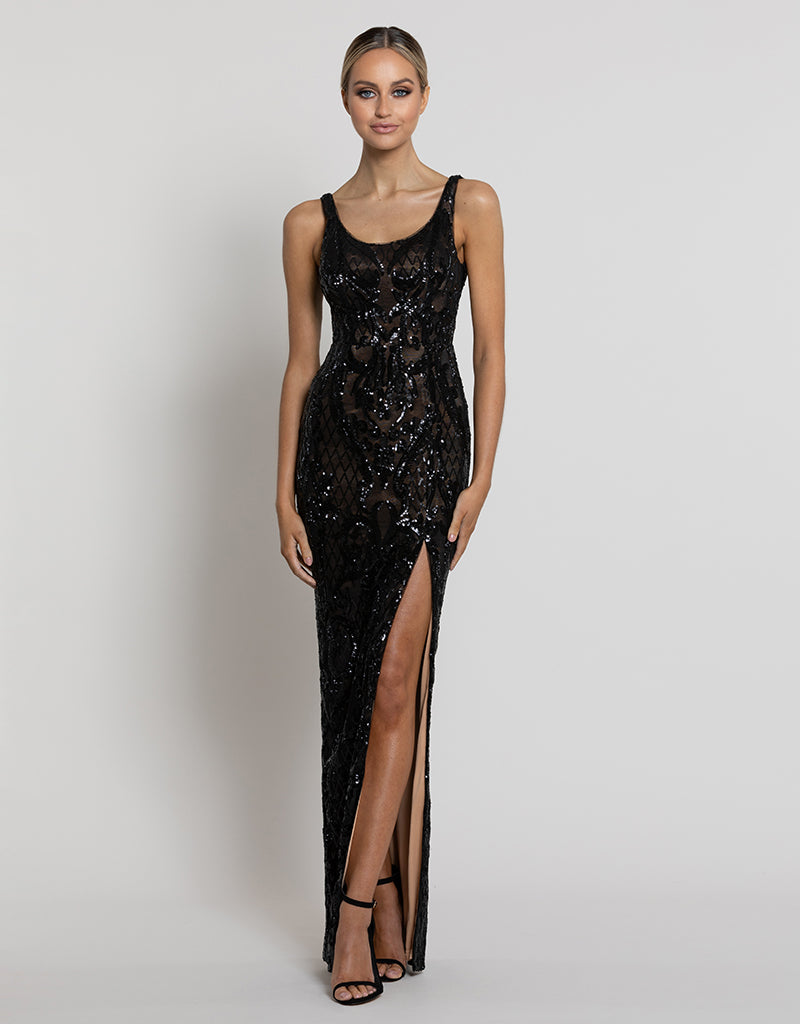 DIANNE SCOOP PATTERN SEQUIN GOWN B42D32-L