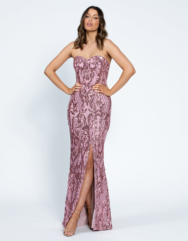 ALISAN SWEETHEART PATTERN SEQUIN GOWN B42D33-L