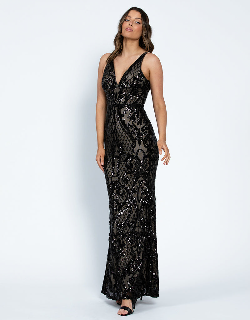 GRACE V-NECK PATTERN SEQUIN GOWN B42D39L