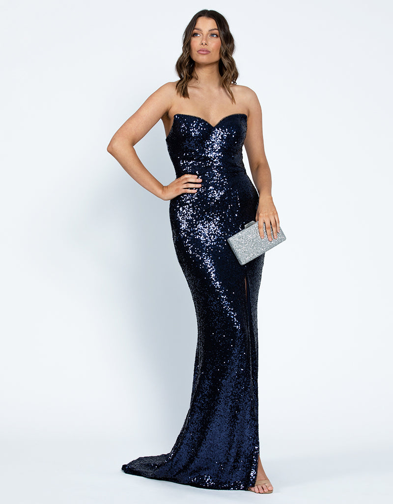 MIA SWEETHEART SEQUIN GOWN WITH TRAIN B42D59-LT