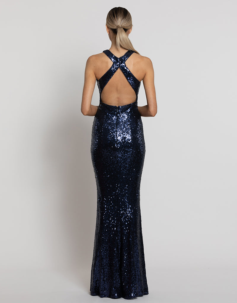 SONI HIGH NECK SEQUIN GOWN B42D60L
