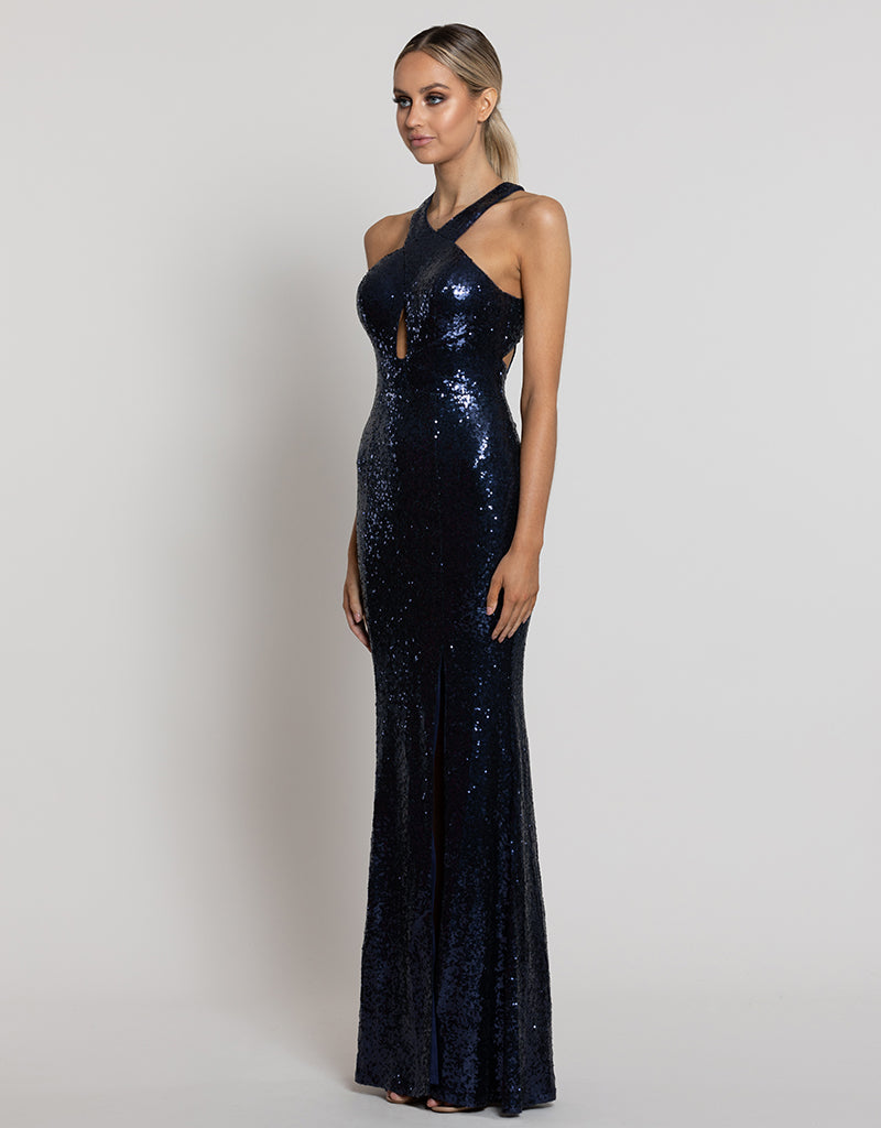 SONI HIGH NECK SEQUIN GOWN B42D60-L