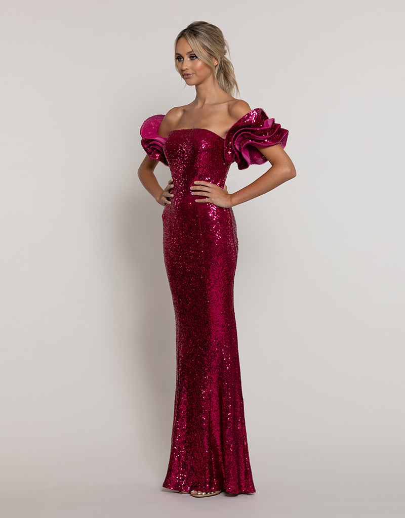 OPAL RUFFLED SEQUIN GOWN B43D13-L