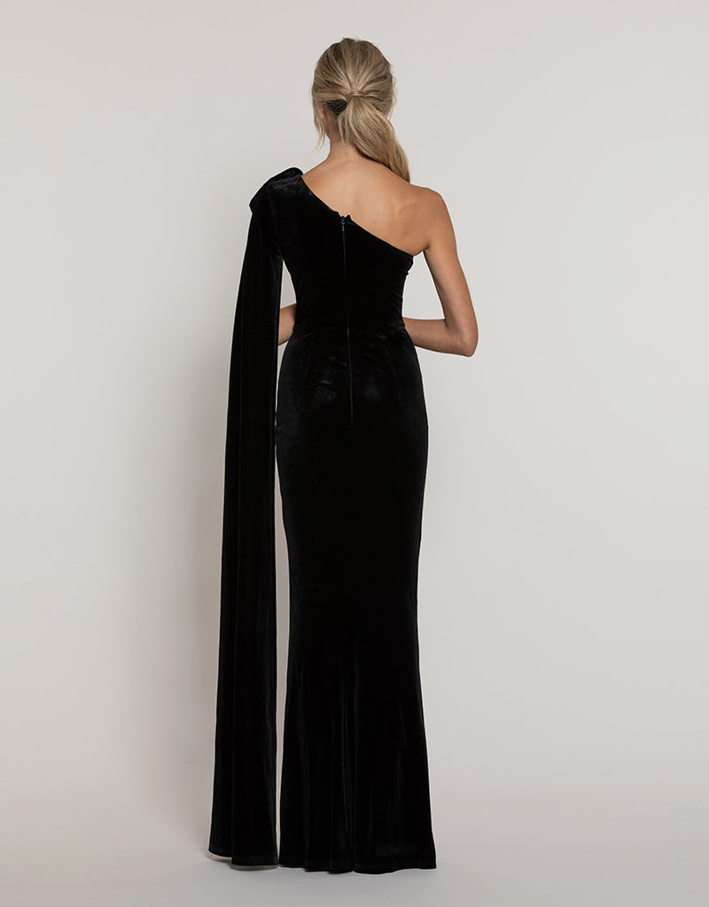 CELESTINE ONE-SHOULDER CAPE GOWN B43D23-L