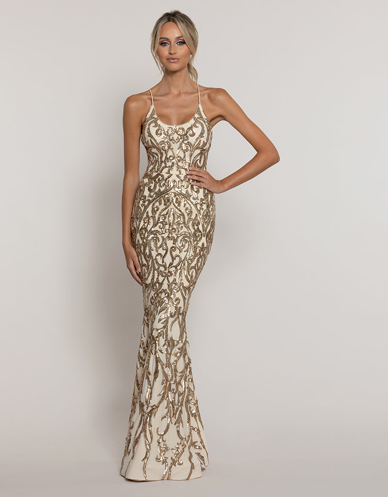 SERPENTINE SCOOP PATTERN SEQUIN GOWN B43D30-L
