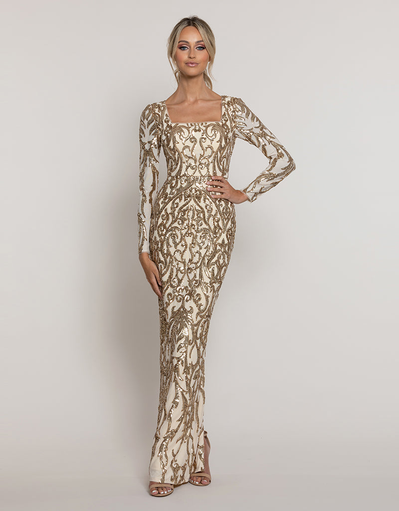 BIJOU SQUARE NECK PATTERN SEQUIN GOWN B43D34-L
