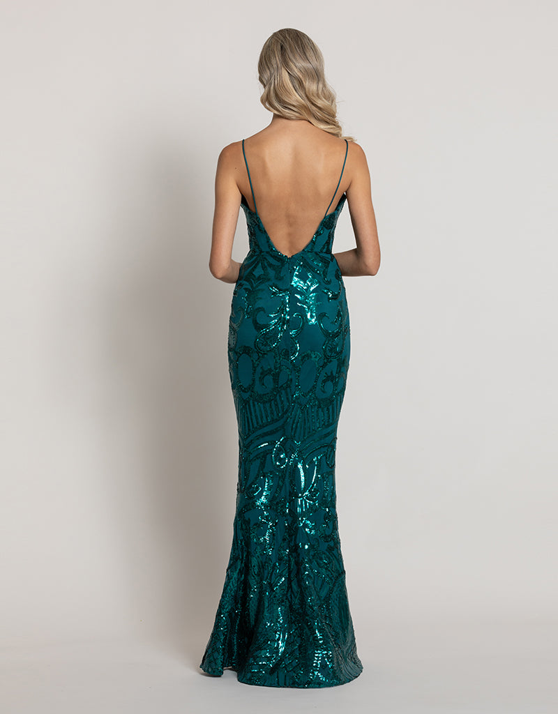 EISLEY FISHTAIL PATTERN SEQUIN GOWN B44D41-L