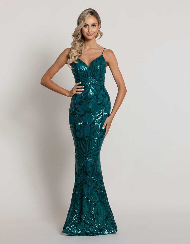 EISLEY FISHTAIL PATTERN SEQUIN GOWN B44D41L