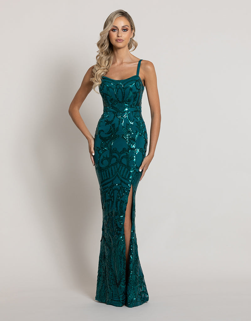 ALYSSA SCOOP PATTERN SEQUIN GOWN B44D46-L