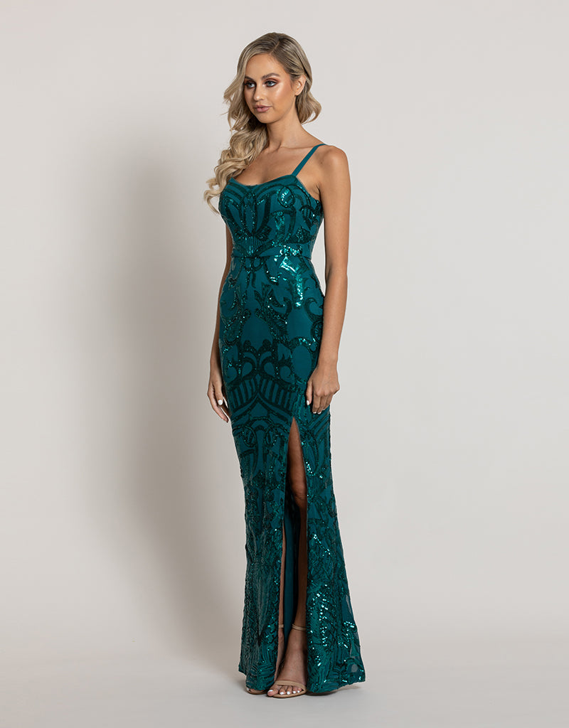 ALYSSA SCOOP PATTERN SEQUIN GOWN B44D46L