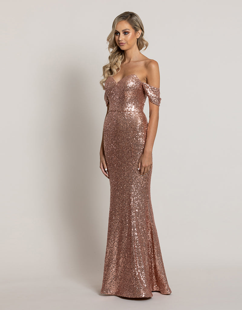 CLOVER OFF SHOULDER SEQUIN GOWN B44D48L