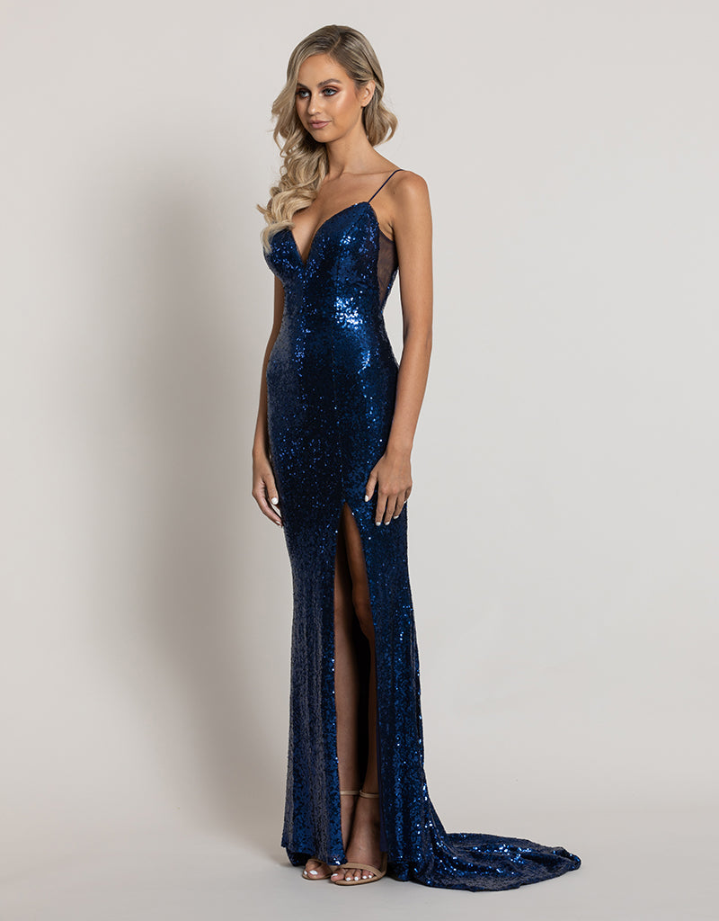 IVY V-NECK SEQUIN GOWN B44D51-LT