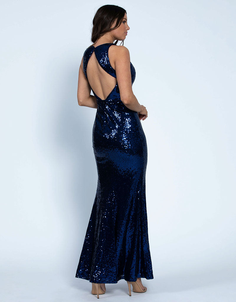 ELA V-NECK SEQUIN GOWN B46D42L