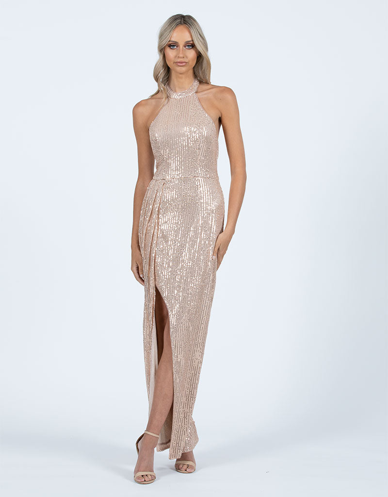 JENNIFER HIGH NECK SEQUIN MAXI L47D10L