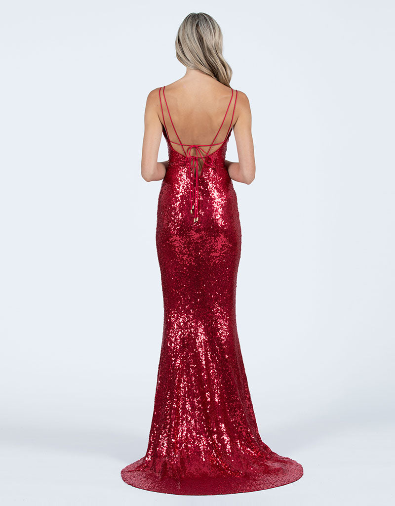 JOANNA V-NECK SEQUIN GOWN B47D20-LT