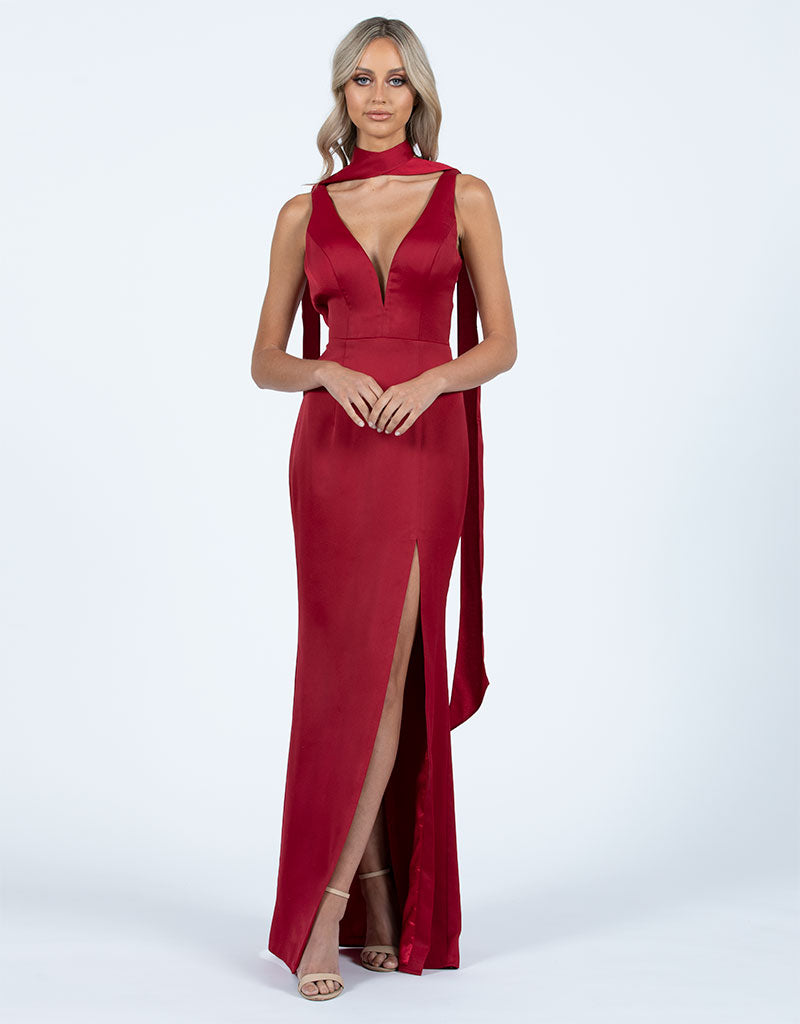 MARISSA V NECK SATIN GOWN B47D47L
