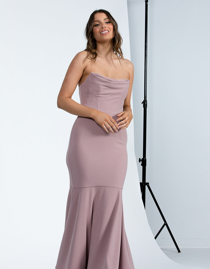 EMILIA STRAPLESS COWL NECK GOWN BB42D44L