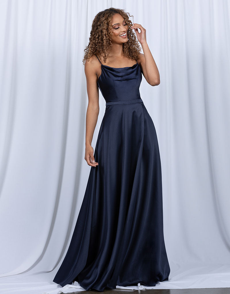 DIAMOND COWL WRAP GOWN B43D11-L