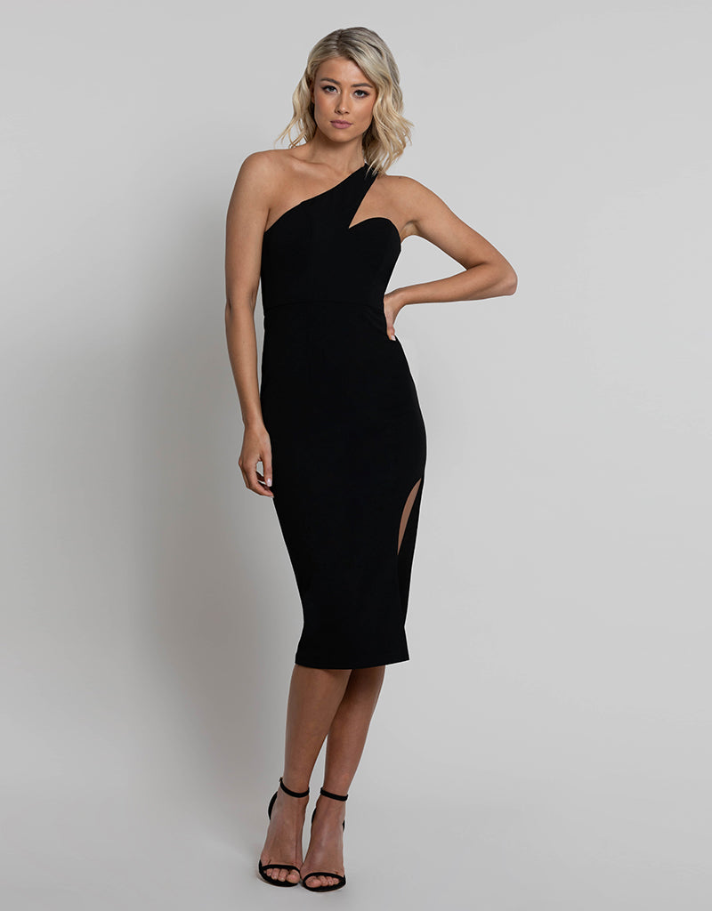 YASMIN ONE SHOULDER SPLIT MIDI L42D25-S