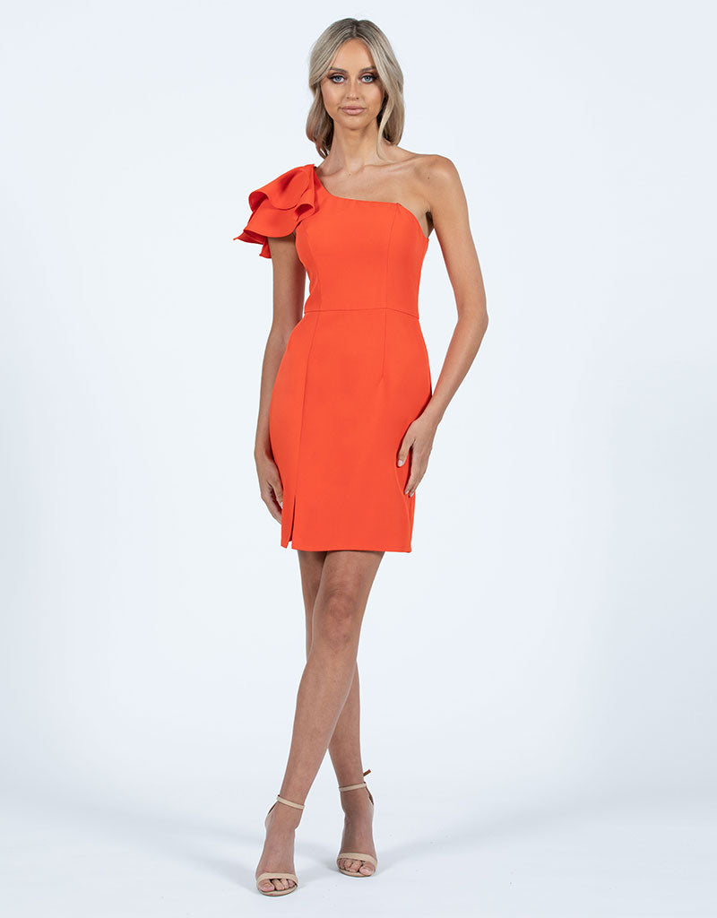 VALENTINA ONE SHOULDER RUFFLE MINI L47D39S