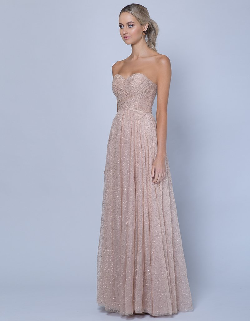 CRISTALLE STRAPLESS GLITTER GOWN B35D05-L