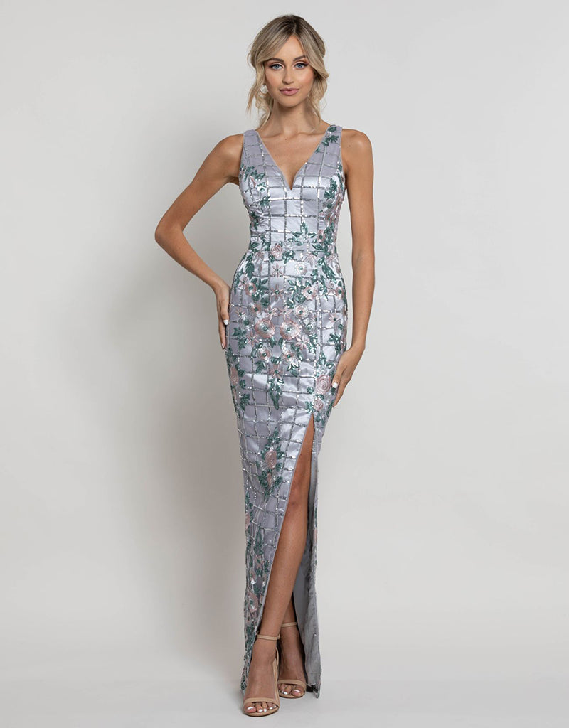 HELENA V-NECK FLOWER SEQUIN GOWN B41D11