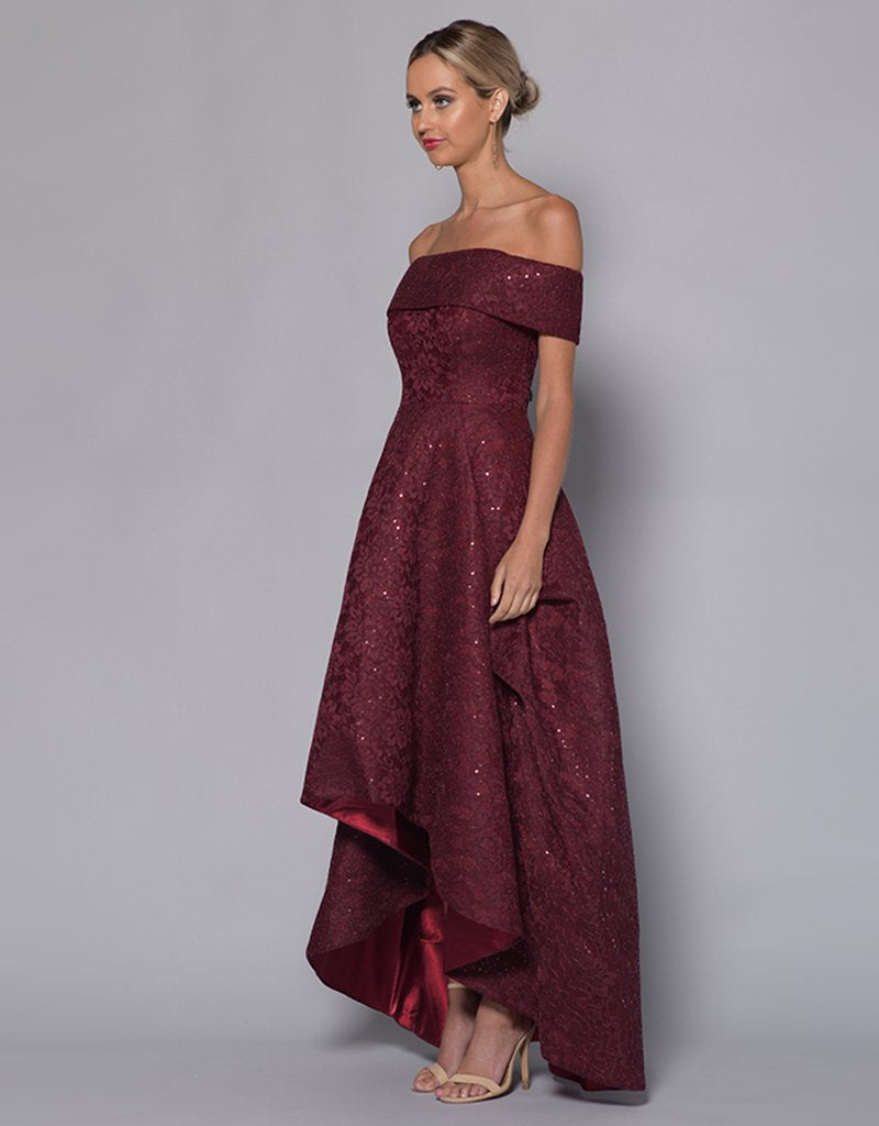JESSIE OFF-SHOULDER MESH BALLGOWN - HIGH/LOW SKIRT B33D41-HL-Bariano-BURGUNDY-6-Bariano