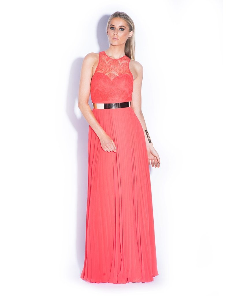 MADE-TO-ORDER RILEY RACER CUT LACE PLEATED GOWN SIZE 16+-Bariano-CHERRY-10-Bariano