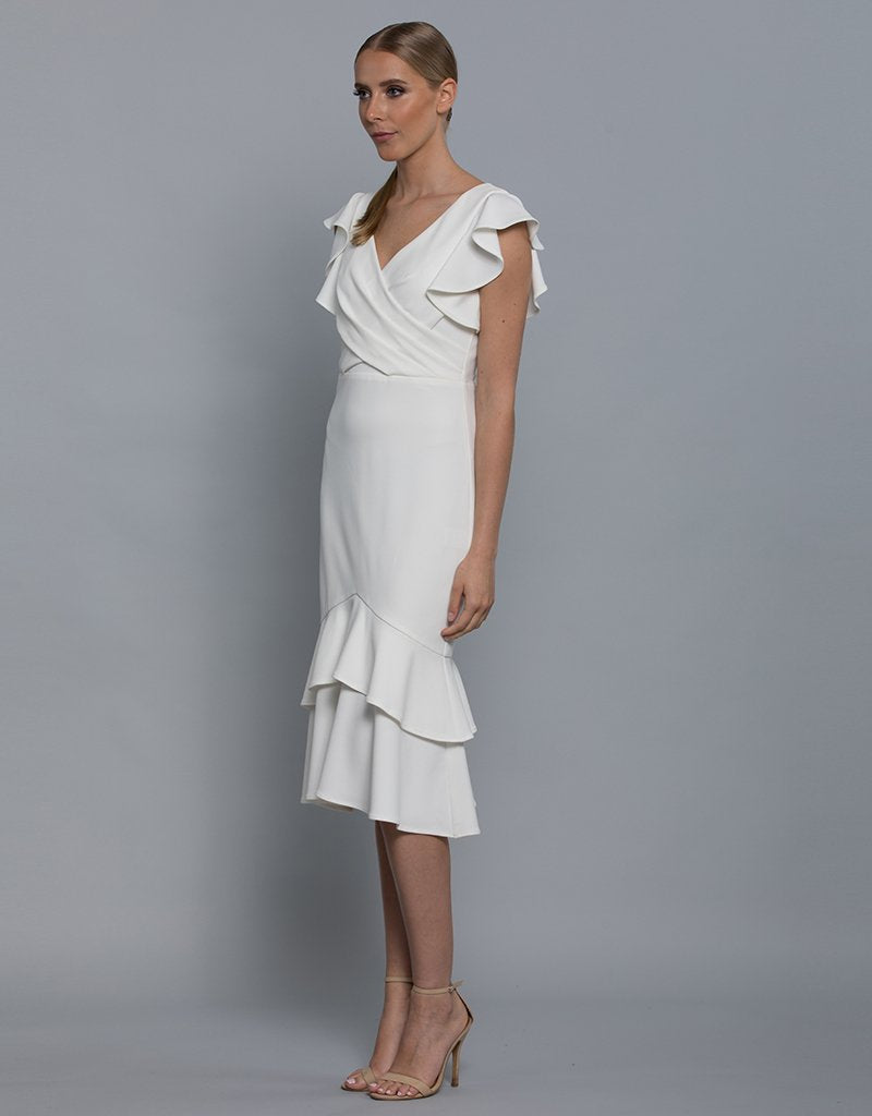 MARIE FRILL SLEEVE DRESS L36D29-S-Bariano-WHITE-xxs-Bariano