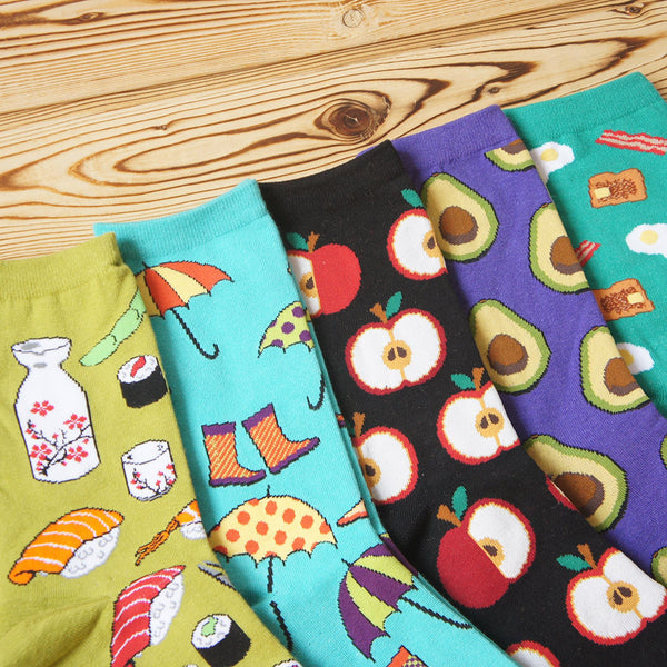Food Print Crew Socks