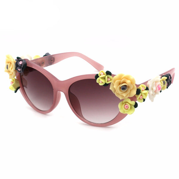 3D Floral Cat Eye Sunglasses - 3 Color Options