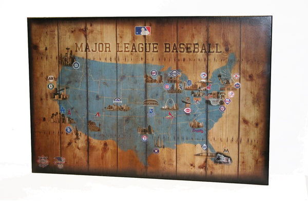 "baseball stadium map 20"" x 30"" full color poster mounted on faux wood"