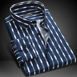 Men Striped Shirt Long Sleeve Boys Famous Brand 100% Cotton Male Fashion Casual Dress Shirts Blue Red  White Business Plus 4XL
