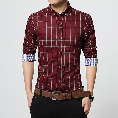 New Autumn Fashion Brand Men Clothes Slim Fit Men Long Sleeve Shirt Men Plaid Cotton Casual Men Shirt Social Plus Size M-5XL