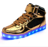Hot Sale Men Women 8 Colors High Top LED Shoes for Adults White Black Glowing Light Up Flat Shoes Luminous Recharging Size 35-45
