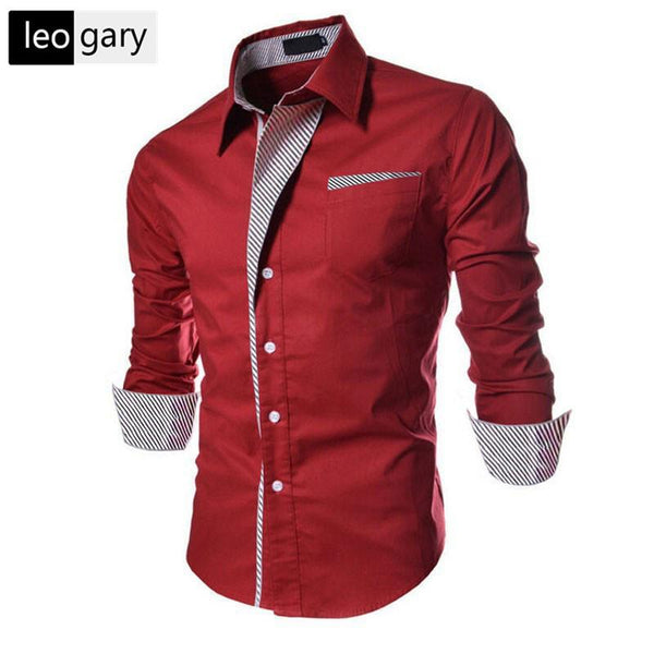 2016 New Casual Shirts Long-Sleeved Men Shirt Business Casual Slim Fit Male Shirt Clothes chemise homme Size M--XXXL - willzo