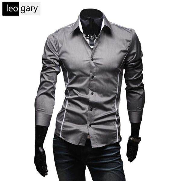 Free Shipping 2016 Hot Mens Shirts Men's Dress Shirt Casual Slim Fit Stylish Long-Sleeved Shirts 3 Colors Size M--XXXL - willzo