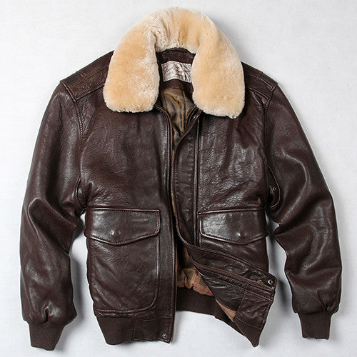 Avirex fly air force flight jacket fur collar leather