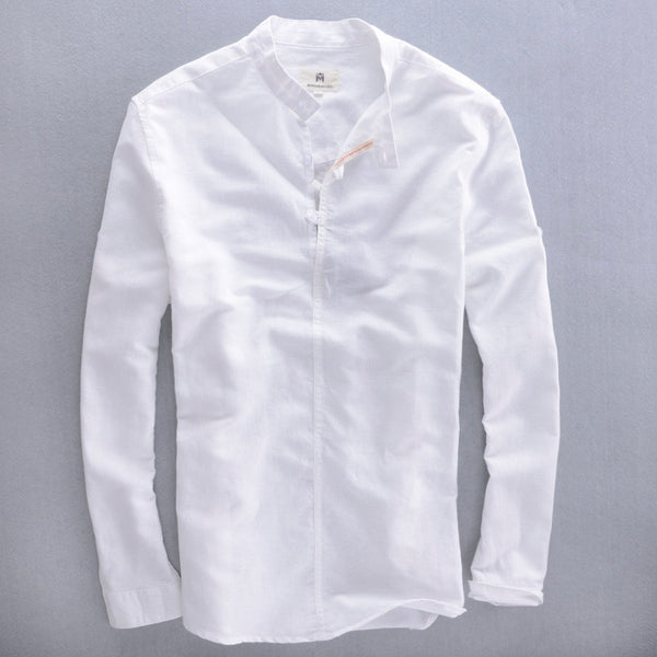 2016 men's mandarin collar long sleeve white linen shirt men summer linen cotton shirts men blue casual shirt male dress shirts