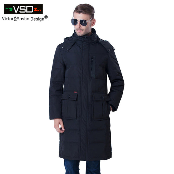2017 new Brand-Clothing Jacket Fashion Thick Casual Lengthening Knee Down Coat Long Winter Jacket Men's Parka