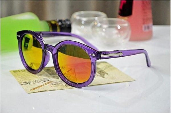 Fashion Multicolour  Mercury Mirror Glasses Sunglasses Coating Sunglass Gold Round
