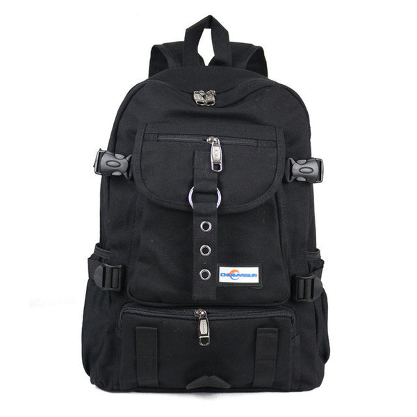 New Fashion arcuate strap zipper solid casual bag male backpack school bag canvas bag