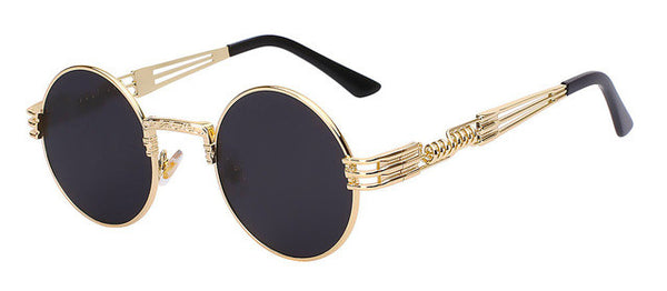Gothic Steampunk Sunglasses  Metal WrapEyeglasses Round Shades Designer  Mirror