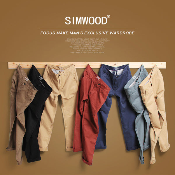 Simwood Brand Spring Summer New Fashion 2017 Slim Straight Casual Pants 100% Pure Cotton