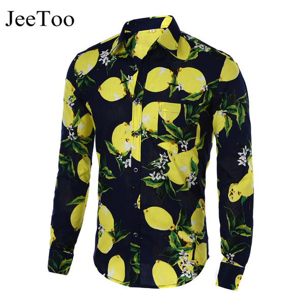 Hot 2017 Fashion Long Sleeve Print Floral Shirt Men Slim Fit Shirts Men's Casual Hawaiian Shirt